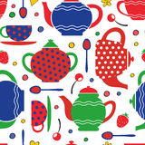 Colorful tea party seamless pattern Stock Image