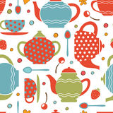 Colorful tea party seamless pattern Royalty Free Stock Photos