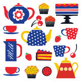 Colorful tea party set Stock Photo