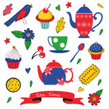 Colorful tea party set Stock Images