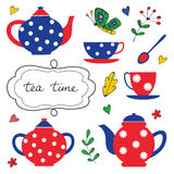 Colorful tea party set Royalty Free Stock Photos