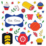 Colorful tea party set Royalty Free Stock Image