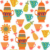 Colorful tea seamless pattern and seamless pattern in swatch men. U, vector Stock Images