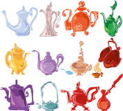 Colorful tea set Stock Image