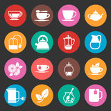 Colorful tea thin line vector icons set Stock Photo
