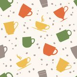 Colorful teacups seamless pattern stock illustration