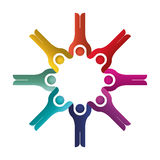 Colorful team of friends in abstract figure human. Vector illustration Stock Photography