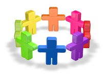 Colorful team, togetherness concept with 3d people Royalty Free Stock Photo