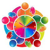 Colorful team work people circle. Around a clock royalty free illustration
