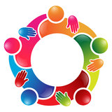 Colorful team work people circle. In a single decision vector illustration