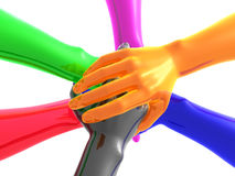 Colorful teamwork symbol 3d arms Royalty Free Stock Photo