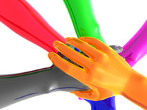 Colorful teamwork symbol 3d arms Stock Photo