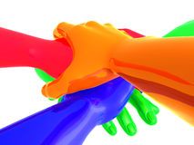Colorful teamwork symbol 3d arms Royalty Free Stock Photos