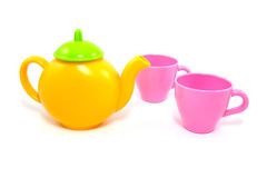 Colorful teapot and cups Royalty Free Stock Photo