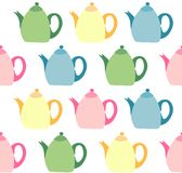 Colorful teapots. Seamless pattern with colorful teapots on white background Royalty Free Stock Image