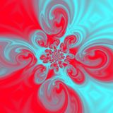 Colorful Teardrop Spiral teal red Fractal, spring picture. Teardrop Spiral teal red Fractal, spring picture Stock Image