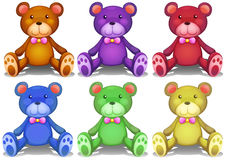 Colorful teddy bears. Illustration of different colors teddy bears Royalty Free Stock Photo