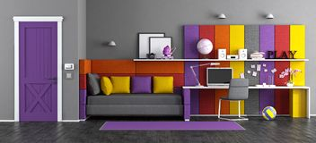 Colorful teen bedroom Stock Photography