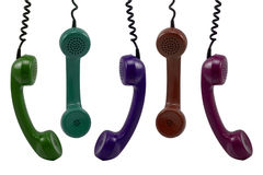 Colorful telephone receivers Stock Image