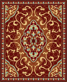 Colorful template for carpet. Oriental abstract ornament. Red and blue template for carpet, coverlet, shawl, textile and any surface. Ornamental pattern with Royalty Free Stock Images