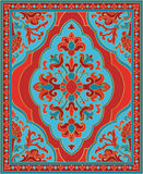 Colorful template for carpet. Oriental abstract ornament. Red and turquoise template for carpet, coverlet, shawl, textile and any surface. Ornamental pattern Royalty Free Stock Photos