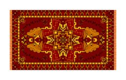 Colorful template for carpet, textile. Oriental floral pattern with frame vector illustration