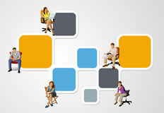 Colorful template with people on chair Stock Photography