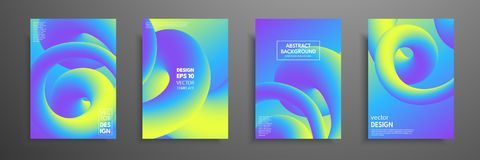 Colorful templates set with abstract elements. Abstract blending liquid color shapes cover design. Applicable for. Brochures, flyers, banners, covers, notebooks Stock Photo