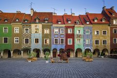 Colorful tenements on the Old Market Square in Poznan, Poland royalty free stock photo