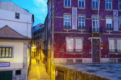 The colorful tenements in Oporto Ribeira in the evening, Portugal Stock Image