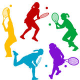 Colorful tenis player silhouettes Stock Photos