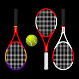 COLORFUL TENNIS RACKETS AND BALL. Realistic colorful tennis rackets and ball colorable  image Stock Images