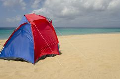 A colorful tent on the beach royalty free stock photo