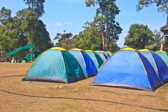 Colorful tent on the camping ground Stock Image