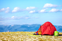 Colorful tent camping in mountains. Crimea Royalty Free Stock Photo