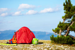 Colorful tent camping in mountains. Crimea Royalty Free Stock Photos