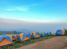 Colorful tent on the hill. Under blue sky Stock Images