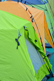 Colorful tents. Part and detail of tents in different colors, shown as outdoor goods, and colored pattern Royalty Free Stock Photo