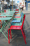 Colorful terrace in the city stock images