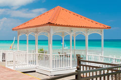 Colorful terrace overlooking Varadero beach in Cub Royalty Free Stock Photography