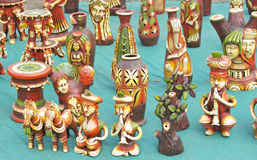 Colorful Terracotta Art Pieces and Toys Stock Images