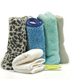 Colorful terry cloth towels. On white background Stock Photo