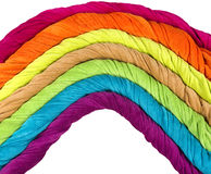 Colorful terry towels in the shape of a rainbow Stock Image