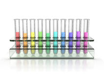 Colorful test tubes. 3d illustration Royalty Free Stock Image