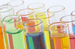 Colorful test tubes close-up Stock Photo