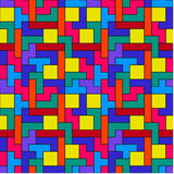 Colorful Tetris Pattern. Geometric pattern inspired by the computer game Stock Photo