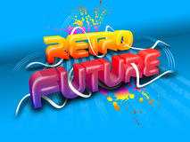 A colorful text. Retro Future on a blue background Royalty Free Illustration