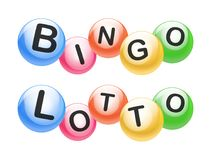 Vector Bingo / Lottery Number Balls Set. Colorful text BINGO and LOTTO vector illustration
