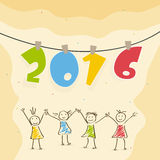 Colorful text with cute girls for Happy New Year. Stylish hanging colorful text 2016 with cute girls holding hands together for Happy New Year celebration stock illustration