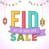 Colorful text Eid Sale with upto 50% off offers on hanging lante. Rns white background Stock Photos
